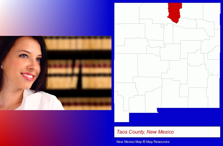 a young, female attorney in a law library; Taos County, New Mexico highlighted in red on a map