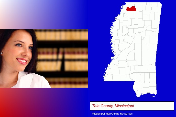 a young, female attorney in a law library; Tate County, Mississippi highlighted in red on a map