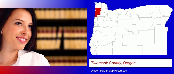 a young, female attorney in a law library; Tillamook County, Oregon highlighted in red on a map