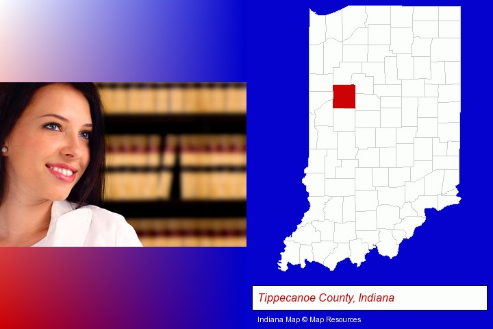 a young, female attorney in a law library; Tippecanoe County, Indiana highlighted in red on a map