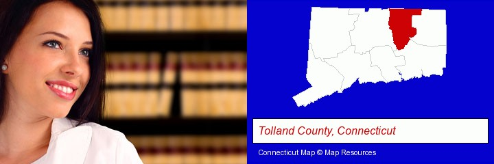 a young, female attorney in a law library; Tolland County, Connecticut highlighted in red on a map