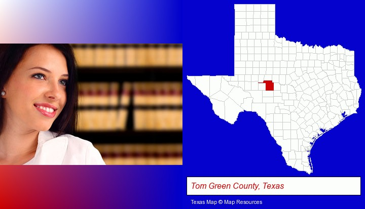 a young, female attorney in a law library; Tom Green County, Texas highlighted in red on a map