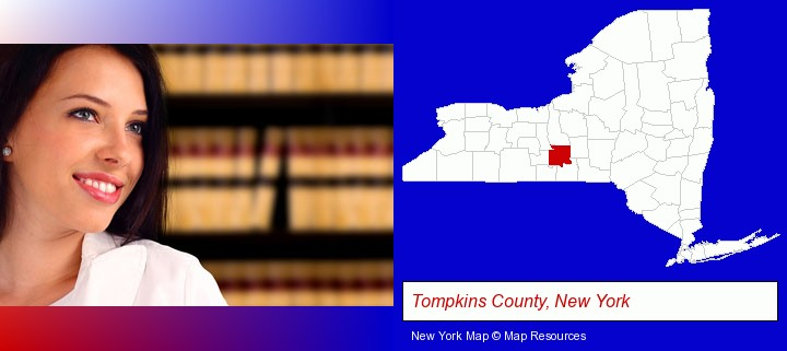 a young, female attorney in a law library; Tompkins County, New York highlighted in red on a map