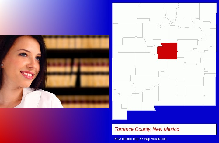 a young, female attorney in a law library; Torrance County, New Mexico highlighted in red on a map