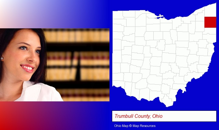 a young, female attorney in a law library; Trumbull County, Ohio highlighted in red on a map
