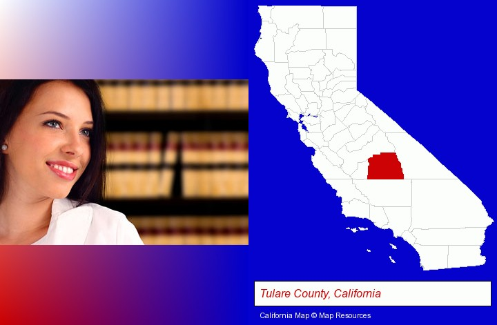 a young, female attorney in a law library; Tulare County, California highlighted in red on a map
