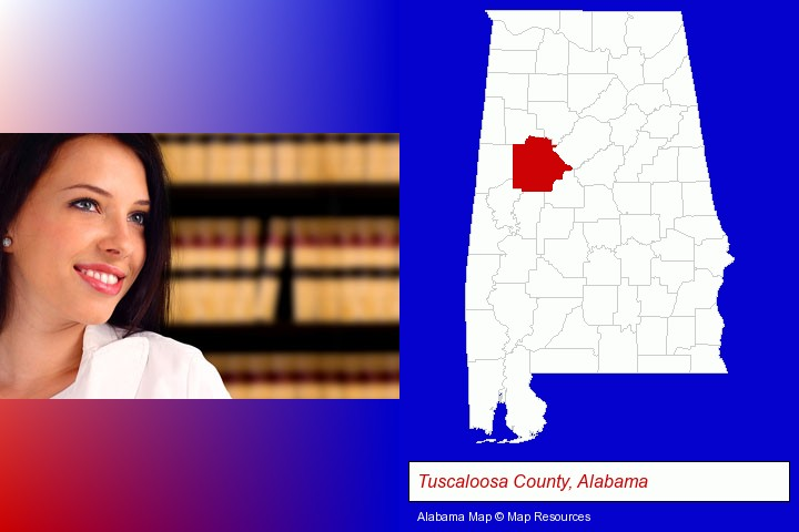a young, female attorney in a law library; Tuscaloosa County, Alabama highlighted in red on a map