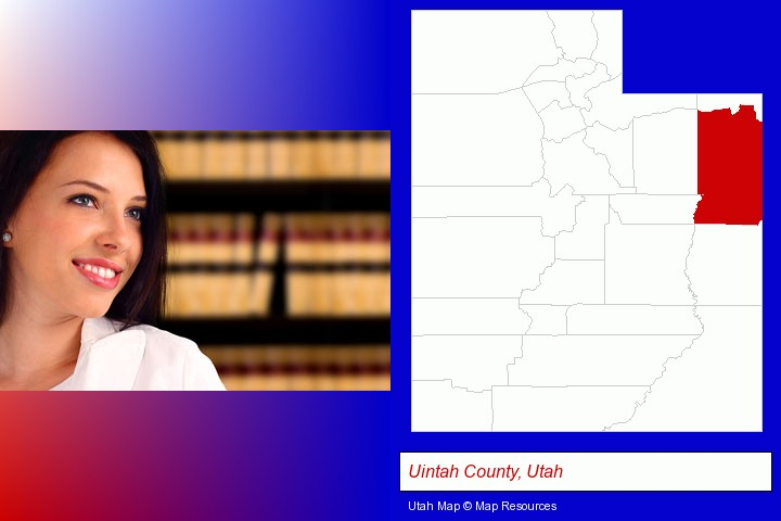 a young, female attorney in a law library; Uintah County, Utah highlighted in red on a map