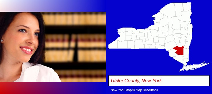 a young, female attorney in a law library; Ulster County, New York highlighted in red on a map