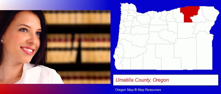 a young, female attorney in a law library; Umatilla County, Oregon highlighted in red on a map