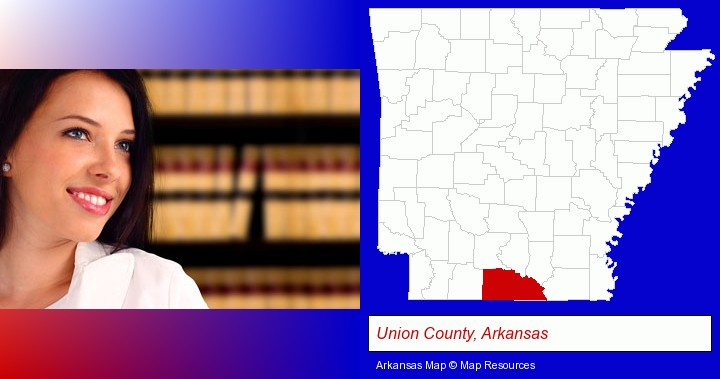 a young, female attorney in a law library; Union County, Arkansas highlighted in red on a map