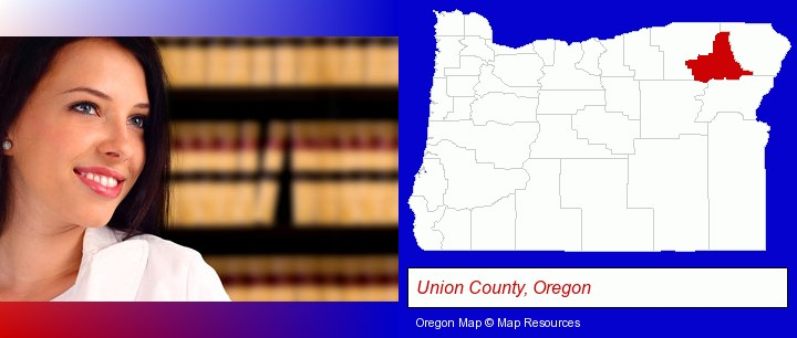 a young, female attorney in a law library; Union County, Oregon highlighted in red on a map