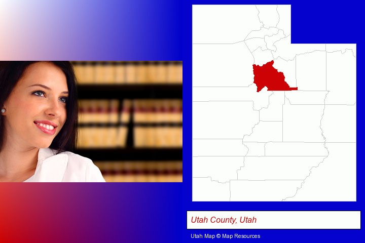 a young, female attorney in a law library; Utah County, Utah highlighted in red on a map