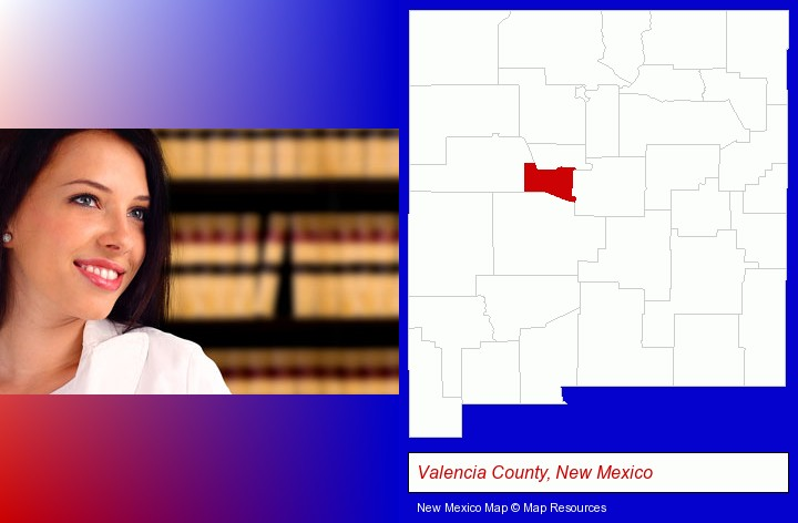 a young, female attorney in a law library; Valencia County, New Mexico highlighted in red on a map