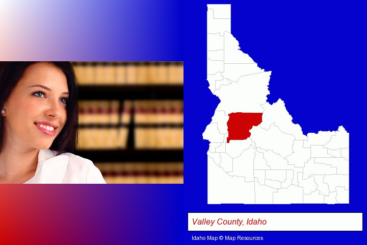 a young, female attorney in a law library; Valley County, Idaho highlighted in red on a map