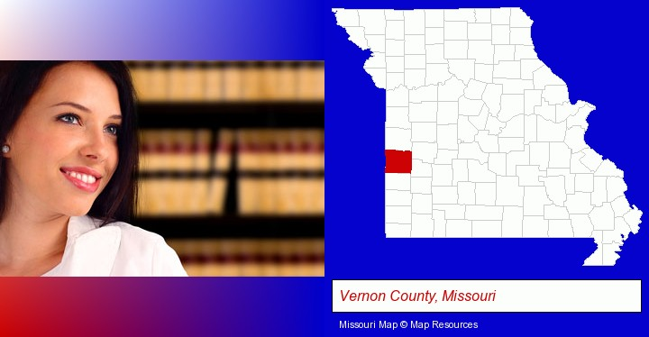 a young, female attorney in a law library; Vernon County, Missouri highlighted in red on a map