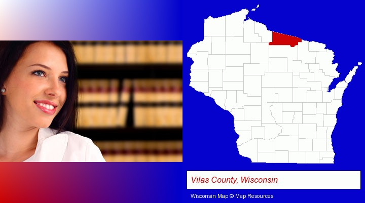a young, female attorney in a law library; Vilas County, Wisconsin highlighted in red on a map