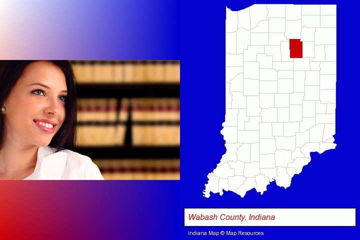a young, female attorney in a law library; Wabash County, Indiana highlighted in red on a map