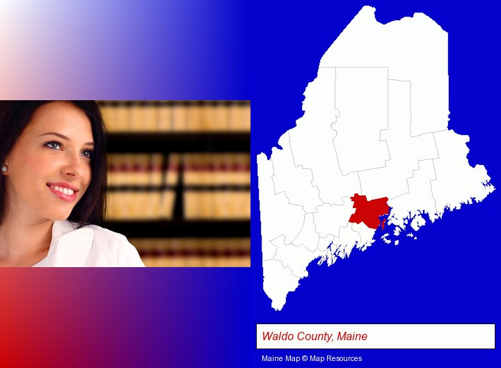 a young, female attorney in a law library; Waldo County, Maine highlighted in red on a map