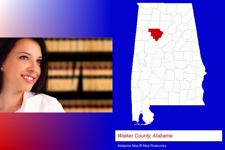 a young, female attorney in a law library; Walker County, Alabama highlighted in red on a map