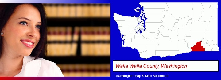 a young, female attorney in a law library; Walla Walla County, Washington highlighted in red on a map