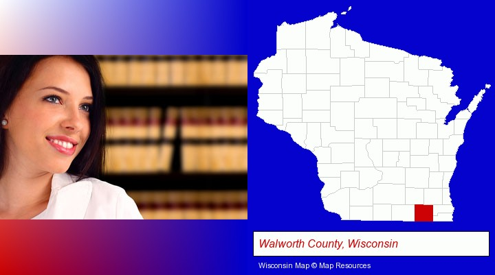 a young, female attorney in a law library; Walworth County, Wisconsin highlighted in red on a map