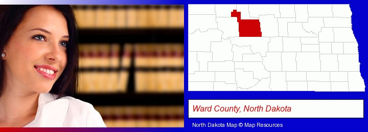 a young, female attorney in a law library; Ward County, North Dakota highlighted in red on a map