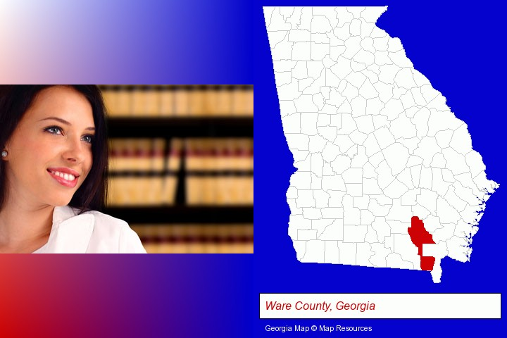 a young, female attorney in a law library; Ware County, Georgia highlighted in red on a map