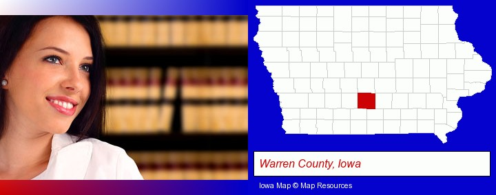 a young, female attorney in a law library; Warren County, Iowa highlighted in red on a map