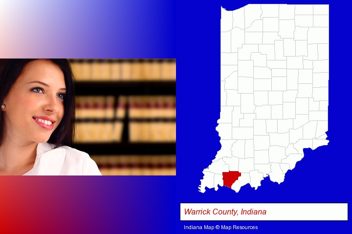 a young, female attorney in a law library; Warrick County, Indiana highlighted in red on a map