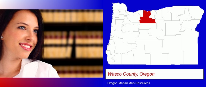 a young, female attorney in a law library; Wasco County, Oregon highlighted in red on a map