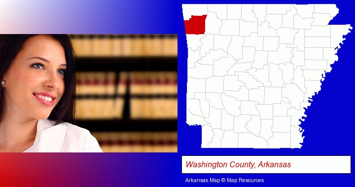 a young, female attorney in a law library; Washington County, Arkansas highlighted in red on a map