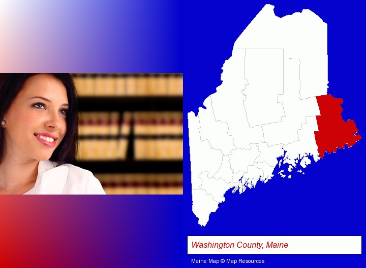 a young, female attorney in a law library; Washington County, Maine highlighted in red on a map