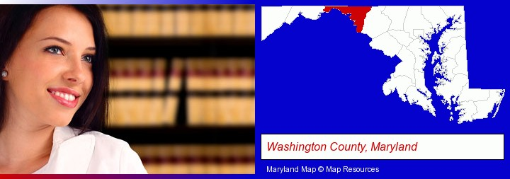 a young, female attorney in a law library; Washington County, Maryland highlighted in red on a map