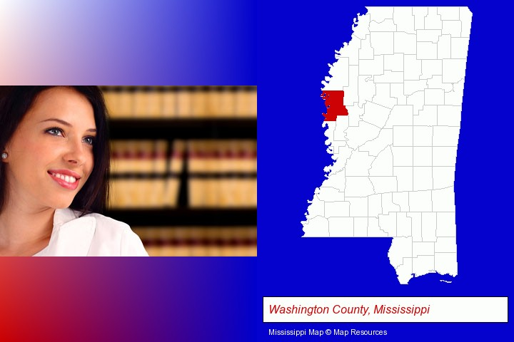 a young, female attorney in a law library; Washington County, Mississippi highlighted in red on a map