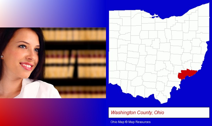 a young, female attorney in a law library; Washington County, Ohio highlighted in red on a map