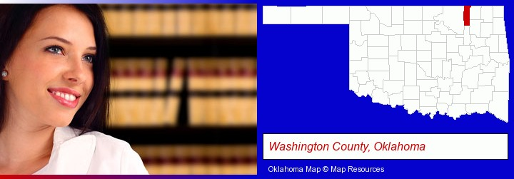 a young, female attorney in a law library; Washington County, Oklahoma highlighted in red on a map
