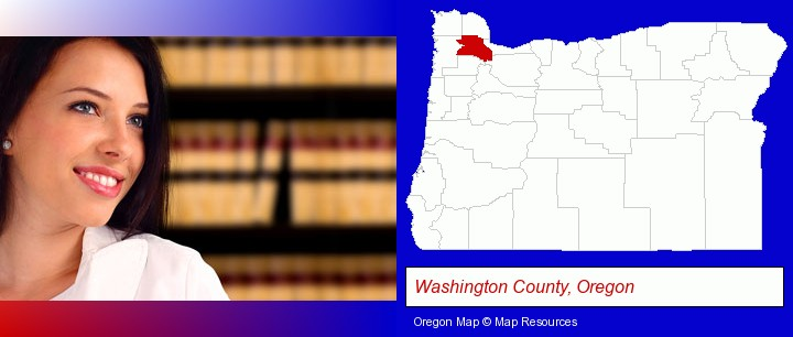 a young, female attorney in a law library; Washington County, Oregon highlighted in red on a map