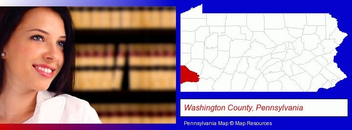 a young, female attorney in a law library; Washington County, Pennsylvania highlighted in red on a map