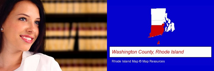 a young, female attorney in a law library; Washington County, Rhode Island highlighted in red on a map