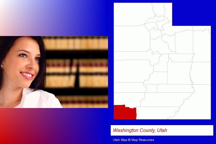 a young, female attorney in a law library; Washington County, Utah highlighted in red on a map