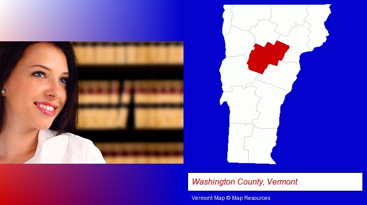 a young, female attorney in a law library; Washington County, Vermont highlighted in red on a map