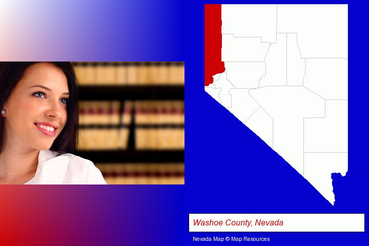 a young, female attorney in a law library; Washoe County, Nevada highlighted in red on a map