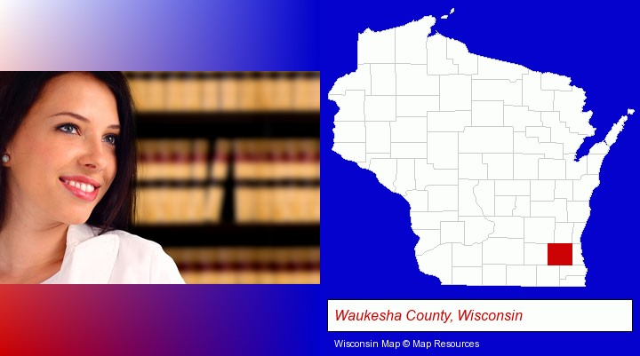 a young, female attorney in a law library; Waukesha County, Wisconsin highlighted in red on a map