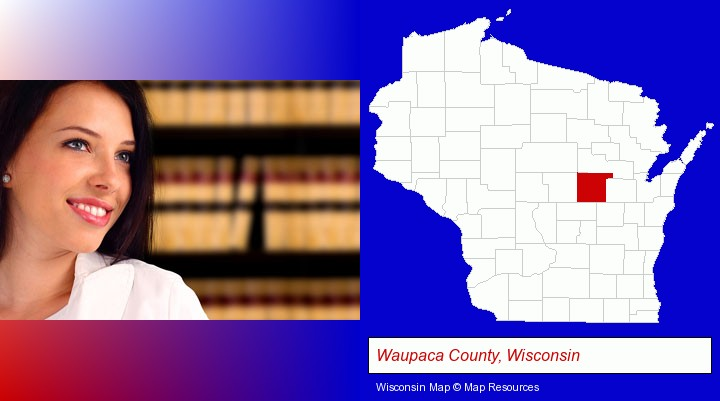a young, female attorney in a law library; Waupaca County, Wisconsin highlighted in red on a map