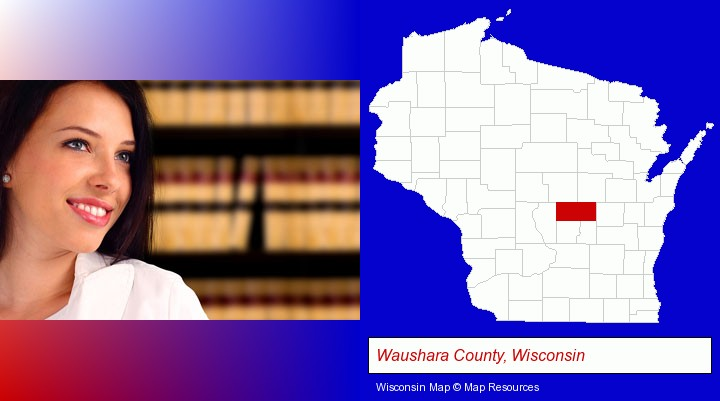 a young, female attorney in a law library; Waushara County, Wisconsin highlighted in red on a map