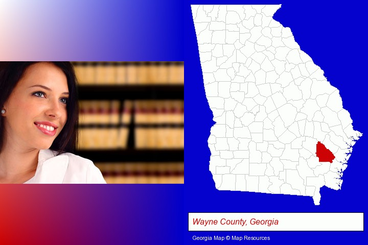 a young, female attorney in a law library; Wayne County, Georgia highlighted in red on a map