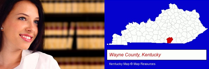 a young, female attorney in a law library; Wayne County, Kentucky highlighted in red on a map