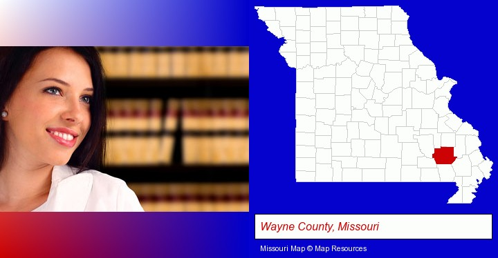 a young, female attorney in a law library; Wayne County, Missouri highlighted in red on a map