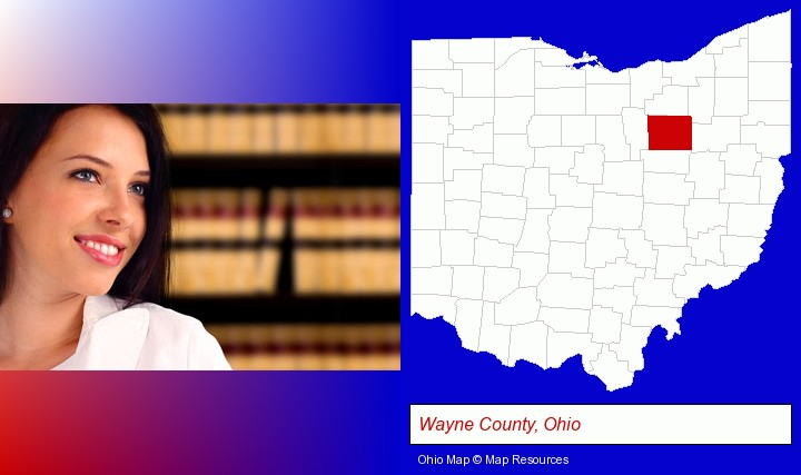 a young, female attorney in a law library; Wayne County, Ohio highlighted in red on a map
